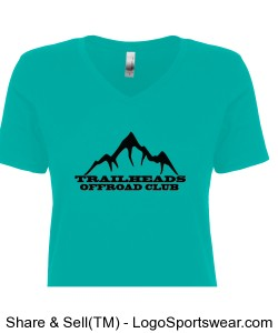 Ladies V-Neck Turquoise T-Shirt Design Zoom